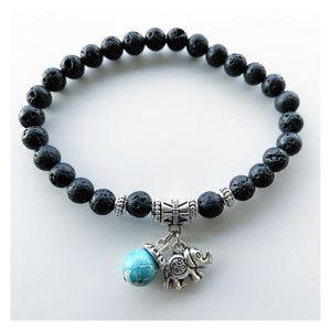 🔴SALE Lava rock blue sea jasper elephant bracelet